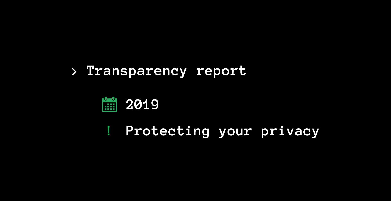 Transparency report for 2019