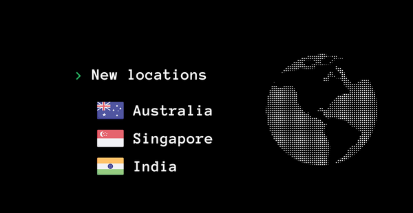 New locations Australia, Singapore and India